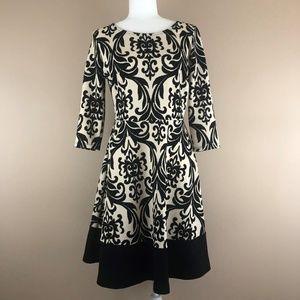 Gilli Cream/Black Damask Pattern 3/4 Sleeve Dress